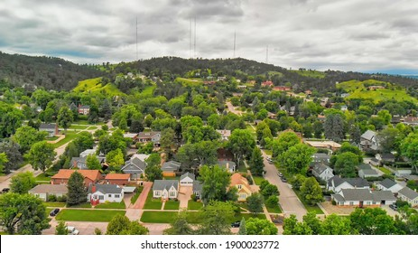 RAPID CITY, SD -JULY 2019: Arial view of Rapid City on a cloudy summer day, South Dakota.