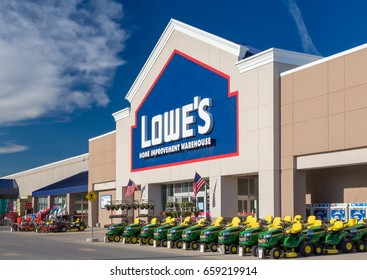 RAPID CITY, SD/USA - JUNE 1, 2017:  Lowe's Home Improvement Warehouse exterior. Lowe's is an American chain of retail home improvement stores in the United States, Canada, and Mexico.