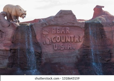 RAPID CITY, SOUTH DAKOTA - June 10, 2014: The entrance sign to Bear Country USA an animal interactive drive through experience in Rapid City, SD on June 10, 2014.