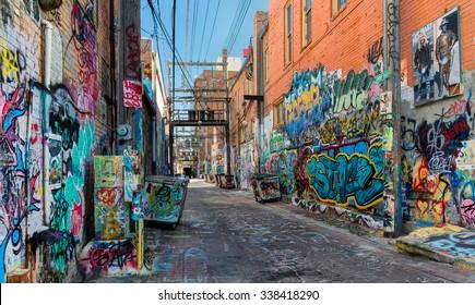 RAPID CITY, SOUTH DAKOTA - OCTOBER 30: Art Alley at 7th Street on October 30, 2015 in Rapid City, South Dakota