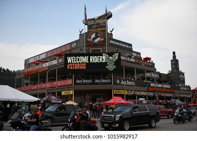 Rapid City, South Dakota / USA - August 05 2017: Street view of the Iron Horse Saloon during the Sturgis motorcycle rally.