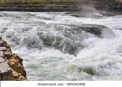 A rapid on the north river. Landscape with white water on a rapid.