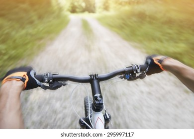 Rapid ride from the hill on the bike