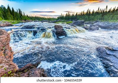 Waldwilde Flussschnellen Landschaft