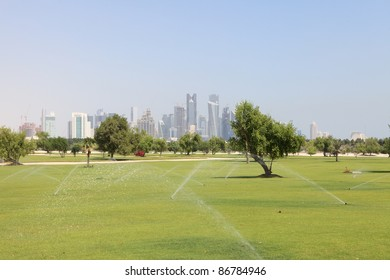 The rapidly expanding park area in Central Doha, Qatar, where the desert is being turned green as part of a massive city redevelopment programme.