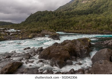 Rapids and blue colors of the Petrohue River in Chile's Patagonia region