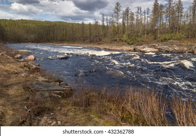 The rapids on the turbulent mountain river in South Yakutia, Russia