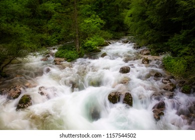 Rapids in the Sava Bohinjka River in Triglav National Park, near the Savica Waterfall and Lake Bohinj, Slovenia
