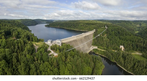 Rappbode Dam in Harz mountains and the longest suspension bridge in the world. Germany