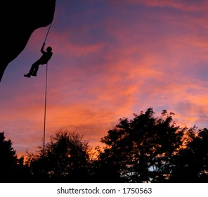 Rappelling at dusk in Montana.