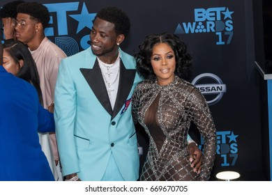 Rapper Gucci Mane (L) and Keshia Ka'Oir attends the 2017 BET Awards at Microsoft Theater on June 25th, 2017 in Los Angeles, California - USA