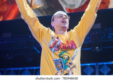 Rapper Logic performs at the Power 96.1 iHeartRadio 2017 Jingle Ball in Atlanta Georgia on December 15th 2017 at the Phillips Areana