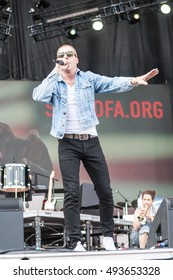 Rapper Macklemore Attend and performed at the  2016 Many Rivers To Cross Festival at Bouckaert Farm on October 1 & 2 2016 in Atlanta Georgia