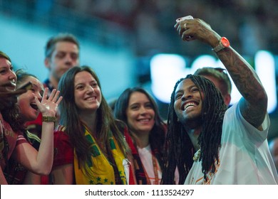Rapper Waka Flocka with Fans at the MLS Atlanta United host Sporting Kansas City on Wednesday, 9th 2018 at the Mercedes Benz Stadium, Atlanta Ga - USA MLS Game #102