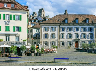 Rapperswil, Switzerland - 7 September, 2015: view on Fischmarktplatz square. Rapperswil is a city in the Swiss canton of St. Gallen, located on the east side of the Lake Zurich.