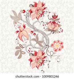 Rapport for ornament. Beautiful fantastic flower with leaves, tendrils and berries. Background with motives of the paintings of vintage Indian fabrics. Tree of Life collection.