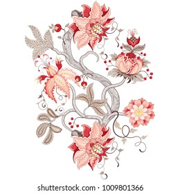 Rapport for ornament with fantastic flower with leaves, tendrils and berries. Tree of Life collection.