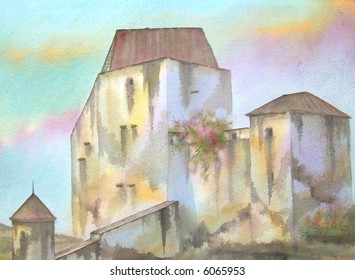 "Rappotenstein Medieval Castle, Austria; 28x43 cms. = 11""x17"" # 97-133"