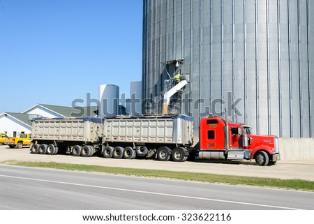 RAPSON, MI, USA / SEPTEMBER 26, 2015: A truck loads grain in Rapson, MI on September 26, 2015.  Rapson is in Huron County, MI, which is in Michigan's Thumb Region.  Agriculture dominates the area.