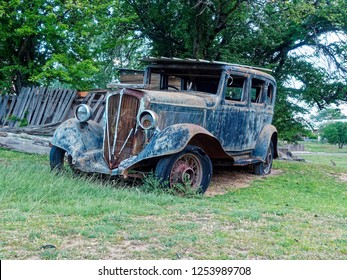 Rare 1932 Blue Studebaker Rockne 65 sedan deluxe left abandoned under trees in the Historic ghost town of Hill End,  New South Wales.  Australia.