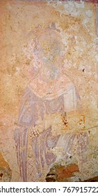 Rare 9th century byzantine fresco of St Mamas in the remains of Agios Mamas, on the Island of Naxos, Greece