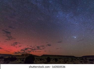 A rare aurora display over Black Mesa, Oklahoma, USA.