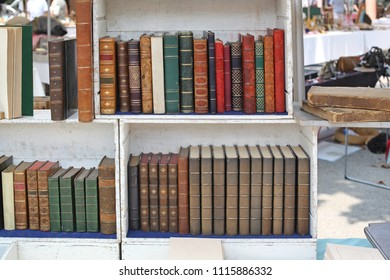 Rare Books in Wooden Bookcase at Cannes Antique Market