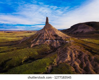 A rare and breathtaking view of the historic Chimney Rock near Bayard, Nebraska used by pioneers as a landmark on the Oregon Trail.