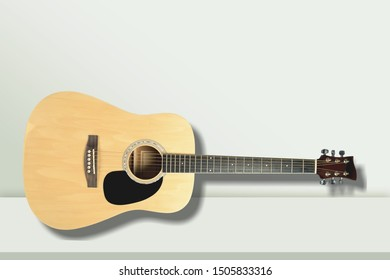 a rare classical acoustic guitar from the 70s small sized vintage used look with scratches in the dark wood macro lens exposure isolated on white background in studio closeup of the parts