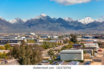A rare coat of snow on the McDowell Mountains above Scottsdale, Arizona