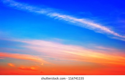 Rare colorful sky at sunset