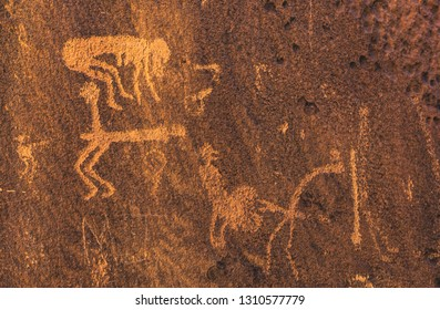 Rare depictions of sex/intercourse on the Rochester Creek Rock Art Panel, a group of petroglyphs made by the Fremont culture who inhabited central Utah 2000 years ago.  San Rafael Swell, Emery County.