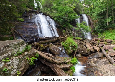 Rare double waterfall in north georgia with Curtis and York creeks falling to form Smith Creek. Unicoi state park