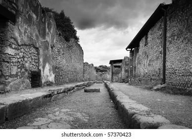 rare, empty street in Pompeii, Italy, black and white