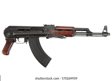 Rare model AK - 47 from 1954 assault rifle isolated on white