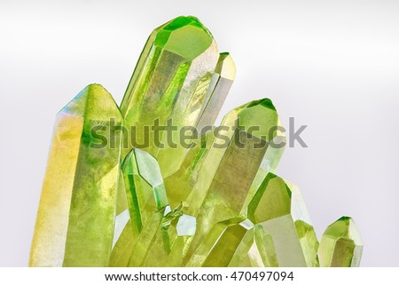 Rare Quartz Green Titanium Aura Crystal Stock Photo (Edit