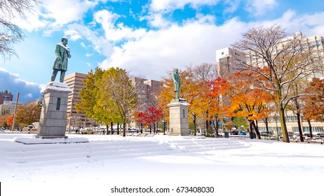 Rare scenery at Odori Park,Sapporo city,Hokkaido,Japan which have snow and color leaf at the same time