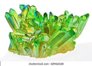 Rare shiny Green Quartz Titanium Aura Crystal cluster on white background