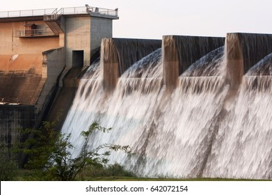 Rare sighting of the Midmar dam wall overflowing, in 2009, Howick, kwazulu natal, South Africa