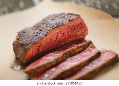 Rare steak medium