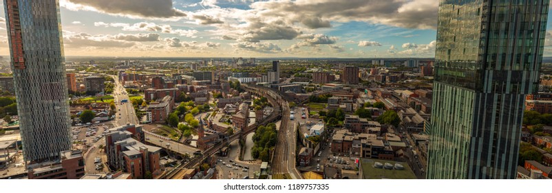 Rare Very Large Image Of A Ariel View Of Manchester