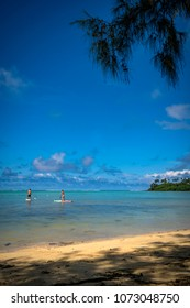 Rarotonga, Cook Islands - April 13, 2018: Muri Lagoon on Rarotonga's eastern coastline is one of the most popular visitor destinations in the Cook Islands. It features sandy beaches and swaying palms.