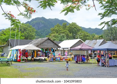 RAROTONGA - DEC 23 2017:Visitors at Punanga Nui Market in Avarua town, Cook Islands.It's one of the highly regarded traditional markets in the South Pacific and were tourists mix with the locals.