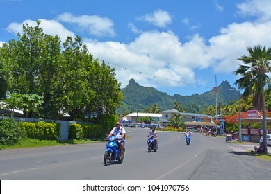 RAROTONGA - DEC 29 2017:Traffic on the main street in Avarua town in Rarotonga, the national capital of the Cook Islands.