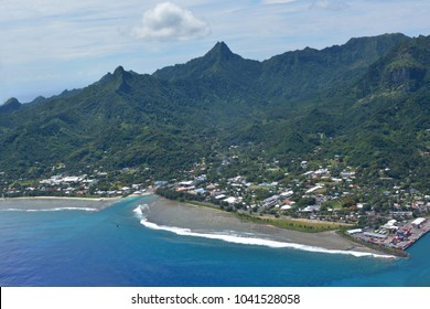 RAROTONGA - JAN 12 2018:Aerial landscape view of Avarua Town, the capital of Cook Islands, and Port of Avatiu, the main international sea port  of the country, in Rarotonga Island in the Cook Islands.