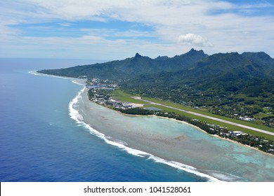 26cf3146e3a RAROTONGA -JAN 12 2018 Aerial landscape view of Rarotonga International  Airport and Port of