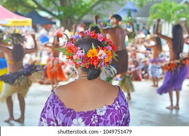RAROTONGA - JAN 14 2018:Culture show at Punanga Nui Market in Avarua town, Cook Islands.It's one of the highly regarded traditional markets in the South Pacific and were tourists mix with the locals.