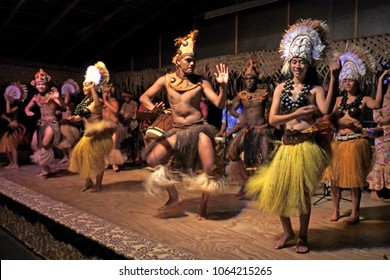 RAROTONGA - JAN 16 2018:Polynesian Cook Islanders dance in cultural show in Rarotonga, Cook Islands.The islanders are of the Maori race linked in culture and language to the Maohi of French Polynesia.
