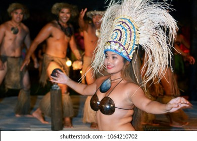 RAROTONGA - JAN 26 2018:Polynesian Cook Islanders dancers cultural show in Rarotonga, Cook Islands. The islanders are of the Maori race linked in culture and language to the Maohi of French Polynesia.