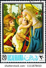 RAS AL KHAIMA - CIRCA 1968: A stamp printed in the Ras al-Khaimah shows Madonna and Child with the Young St John.